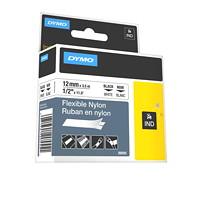 DYMO Rhino Industrial Flexible Nylon Label Tape, Black Type on White Tape, 12 mm x 3 1/2 m (1/2