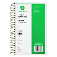 Grand & Toy 5-Subject Notebook