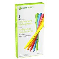 Stylos surligneurs fluorescents Grand & Toy, pointe biseautée, couleurs variées, emb. de 5
