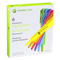 Grand & Toy Fluorescent Highlighters, Assorted Colours, Chisel Tip, 6/PK