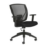 Offices to Go Ibex Task Chair, Black Luxhide Bonded Leather Seat and Mesh Back