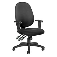 Offices To Go Six 13 Multi-Tilter Chair, Mid-Back, Black, Quilt Fabric