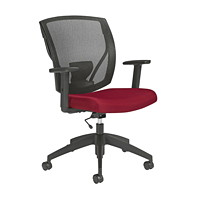 Offices To Go Ibex Mid-Back Office Task Chair, Wine Quilt Fabric Seat and Black Mesh Back