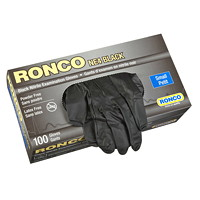 Ronco Nitrile Disposable Examination Gloves, Small, Black, 100/BX