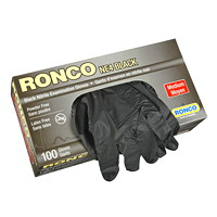 Ronco Nitrile Disposable Examination Gloves, Medium, Black, 100/BX