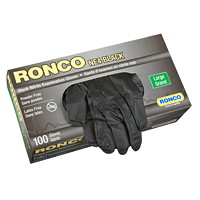 Ronco Nitrile Disposable Examination Gloves, Large, Black, 100/BX