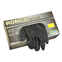 Ronco Nitrile Disposable Examination Gloves,  X-Large, Black, 100/BX
