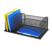 Safco Onyx Mesh 3 Horizontal and 3 Vertical Section Desk Organizer