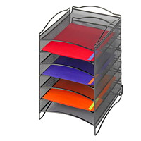 Safco Onyx Mesh Stackable 6-Compartment Literature Organizer