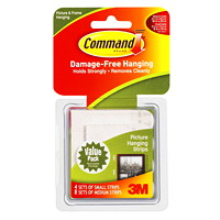 Command Picture and Frame Hanging Strips, White, Small/Medium, 1 and 3 lb Capacity, 12 Sets/PK