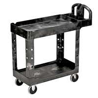 Rubbermaid Commercial Heavy-Duty 2-Shelf Ergo Handle Utility Cart, Black, Lipped-Shelf, Small Size, 500 lb. Capacity