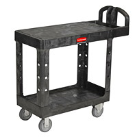 Rubbermaid Commercial Heavy-Duty 2-Shelf Ergo Handle Utility Cart, Black, Flat-Shelf, Small Size, 500 lb. Capacity