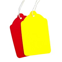 Coloured Merchandise Tags, Red, 1 11/16