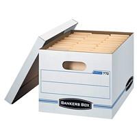 Boîte de rangement Stor/File Bankers Box pour usage léger, blanc et bleu, format lettre et légal