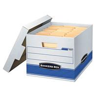 Boîte de rangement Stor/File Bankers Box pour usage moyen, blanc et bleu, format lettre et légal