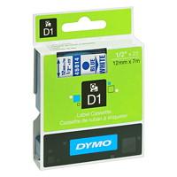 Cassette de ruban pour étiqueteuse D1 DYMO, impression bleu sur blanc, 12 mm x 7 m