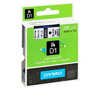 DYMO D1 Label Cassette, Black Type/White Tape, 9 mm x 7 m