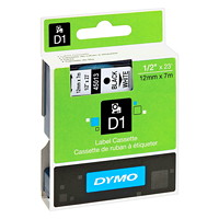 DYMO D1 Label Cassette, Black Type/White Tape, 12 mm x 7 m