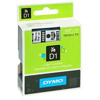 DYMO D1 Label Cassette, Black Type/White Tape, 19 mm x 7 m