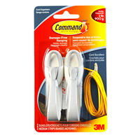 Command Adhesive Cord Bundlers, White/Grey, 2 lb Capacity, 2/PK