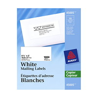 Avery 45005 Mailing Labels - For Copiers, White, 4 1/4