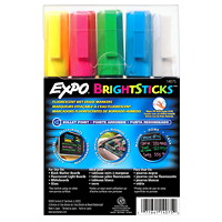 Expo BrightSticks Fluorescent Wet-Erase Bullet-Tip Markers, 5/Pack
