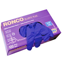 Ronco BluRite Plus Examination Nitrile Powder-Free Disposable Gloves, Dark Blue, Small, 100/BX