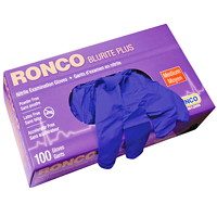 Ronco BluRite Plus Examination Nitrile Powder-Free Disposable Gloves, Dark Blue, Medium, 100/BX