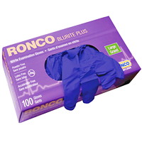 Ronco BluRite Plus Examination Nitrile Powder-Free Disposable Gloves, Dark Blue, Large, 100/BX