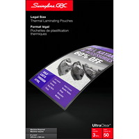 Swingline GBC UltraClear Legal-Size Thermal Laminating Pouches, 50/Bx