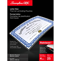 Swingline GBC RetrieveIt Clear Semi-Flexible Thermal Laminating Pouches