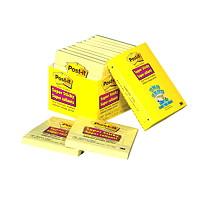 Feuillets super collants pour bureau Post-it, lignés, jaune canari, 4po x 4po, blocs de 90 feuillets, emb. de 12