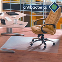 Floortex Cleartex Advantagemat Anti-Microbial Chairmat For Hard Floors, Clear, 36