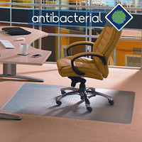 Floortex Cleartex Advantagemat Anti-Microbial Chairmat For Standard Pile Carpets, Clear, 36