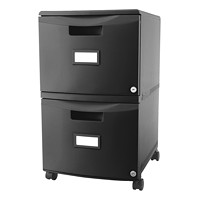 Storex 2-Drawer Mobile Black Vertical File, Black