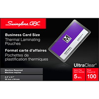Swingline GBC UltraClear Business Card Size Thermal Laminating Pouches, 100/Bx