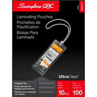 Swingline GBC Clear LongLife Thermal Luggage-Tag Laminating Pouches