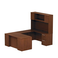 Bush 300 Series Executive U-Shaped Desk with Tall Storage