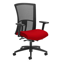Global Vion Synchro-Tilter High-Back Chair, Candy Apple Red Imprint Fabric