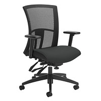 Global Vion Mid-Back Multi-Tilter Chair, Licorice Black Impact Fabric Seat/Black Mesh Back