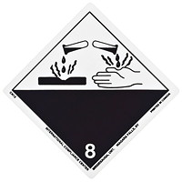 TDG Regulation Labels, White/Black, Non-Worded, Corrosive, 4
