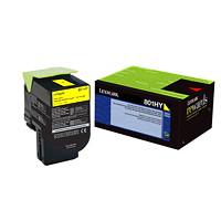 Cartouche de toner à rendement élevé Lexmark CX410, CX510 Programme de retour (80C1HY0), jaune
