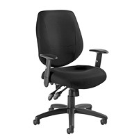 Offices To Go Six 31 Mid-Back Operator Chair, Black Quilt Fabric