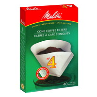 Melitta Cone Coffee Filters, #4, Pure White, 40/PK