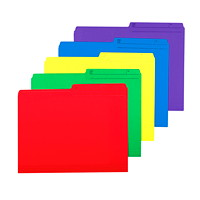 Grand & Toy Coloured File Folders, Assorted Colours, Letter-Size, 25/PK