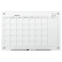 Quartet Infinity Magnetic Glass 1-Month Dry-Erase Calendar Board, 36
