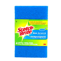 Scotch-Brite Scour Pads, Non-Scratch, Blue, 4/PK