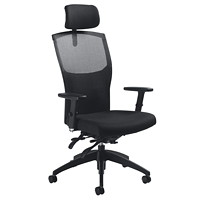 Global Alero High-Back Multi-Tilter Chair With Headrest, Black, Jenny Fabric