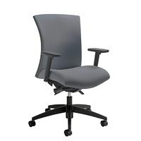 Global Vion Synchro-Tilter Mid-Back Chair, Grey Imprint Fabric