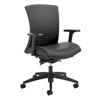 Global Vion Synchro-Tilter Mid-Back Chair, Black, Vinyl
